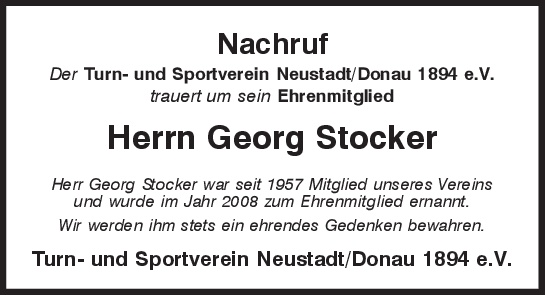 Nachruf Georg Stocker